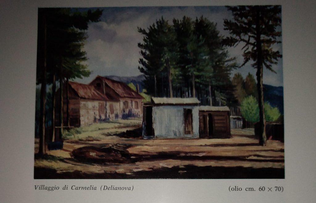 Dipinto di Saverio Scutellà raffigurante il Villaggio di Carmelia (delianova)