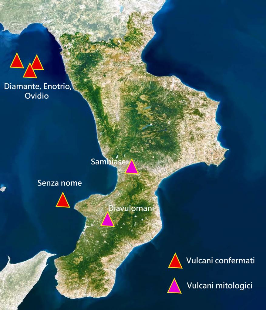 mappa dei vulcani spenti in calabria