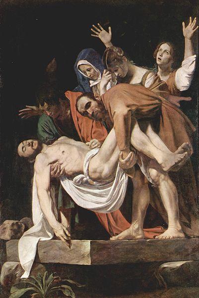 Deposizione del Caravaggio -  il braccio, come nelle raffigurazioni di Meleagro, enfatizza l'arrendevolezza del corpo senza vita.