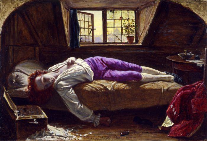 La morte di Chatterton,  il braccio, come nelle raffigurazioni di Meleagro, enfatizza l'arrendevolezza del corpo senza vita.