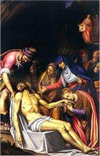 Deposizione di Simone Peterzano:  il braccio, come nelle raffigurazioni di Meleagro, enfatizza l'arrendevolezza del corpo senza vita.