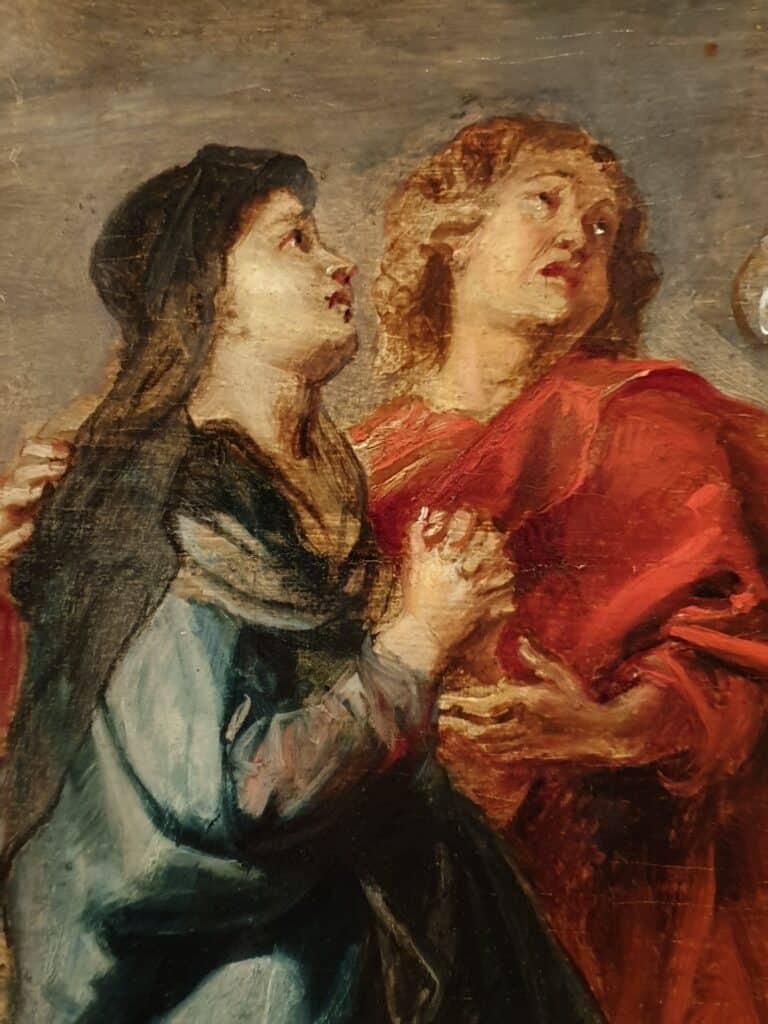 Particolare di Maria rappresentata nel dipinto di Cristo Crocifisso di Peter Paul Rubens