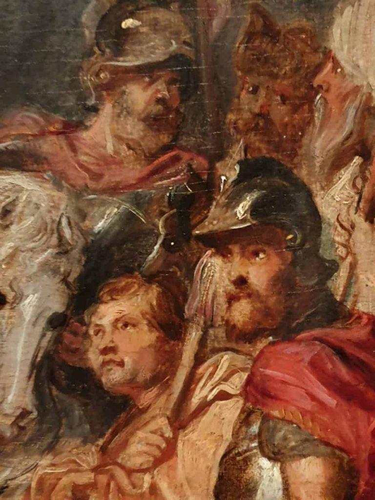 Dettaglio dei soldati e del cavallo bianco presenti nel dipinto Cristo Crocifisso di Peter Paul Rubens