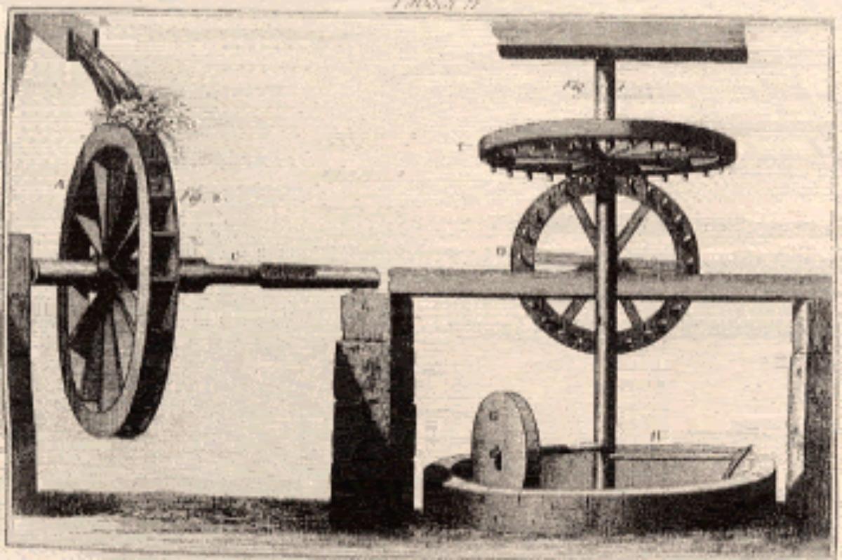 antica illustrazione del frantoio alla genovese