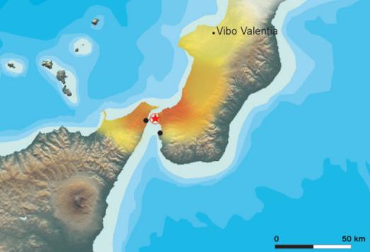 La zona rossa indica la maggiore probabilità di terremoti Tra le provincie di Reggio Calabria e Messina