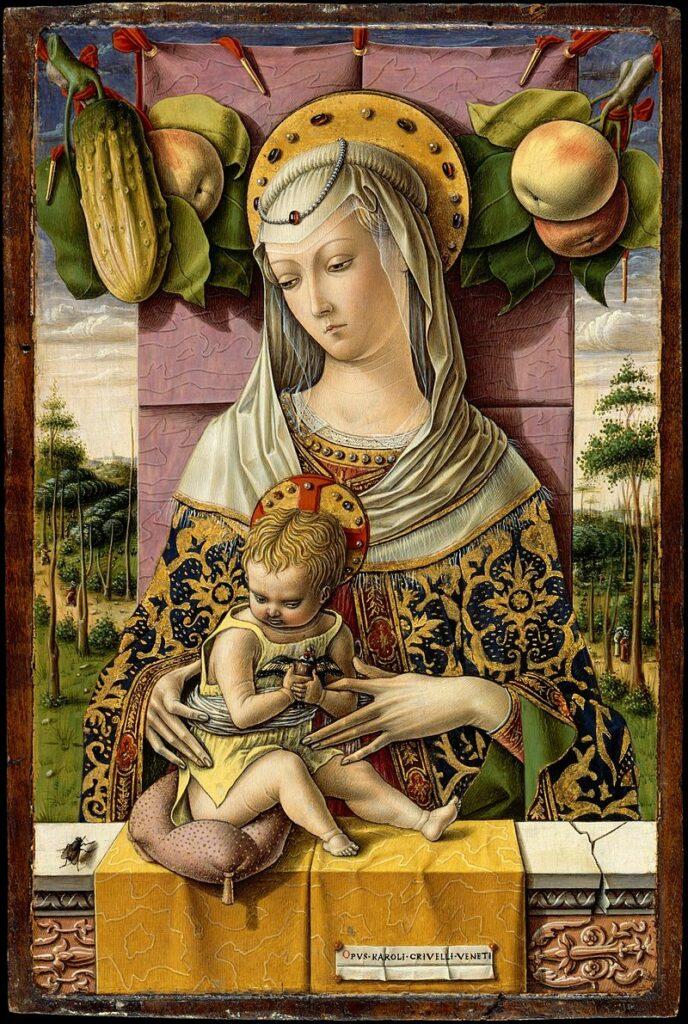 """nel quadro """"madonna con bambino"""" di Carlo Crivelli, troviamo una mosca in basso a sinistra"""
