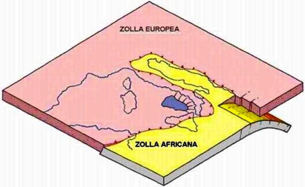 Le placche Africana e Euroasiatica si incontrano nello Stretto di Messina provocando continui terremoti in Sicilia e Calabria