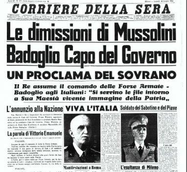 La prima pagina del corriere della sera del 25 luglio 1943